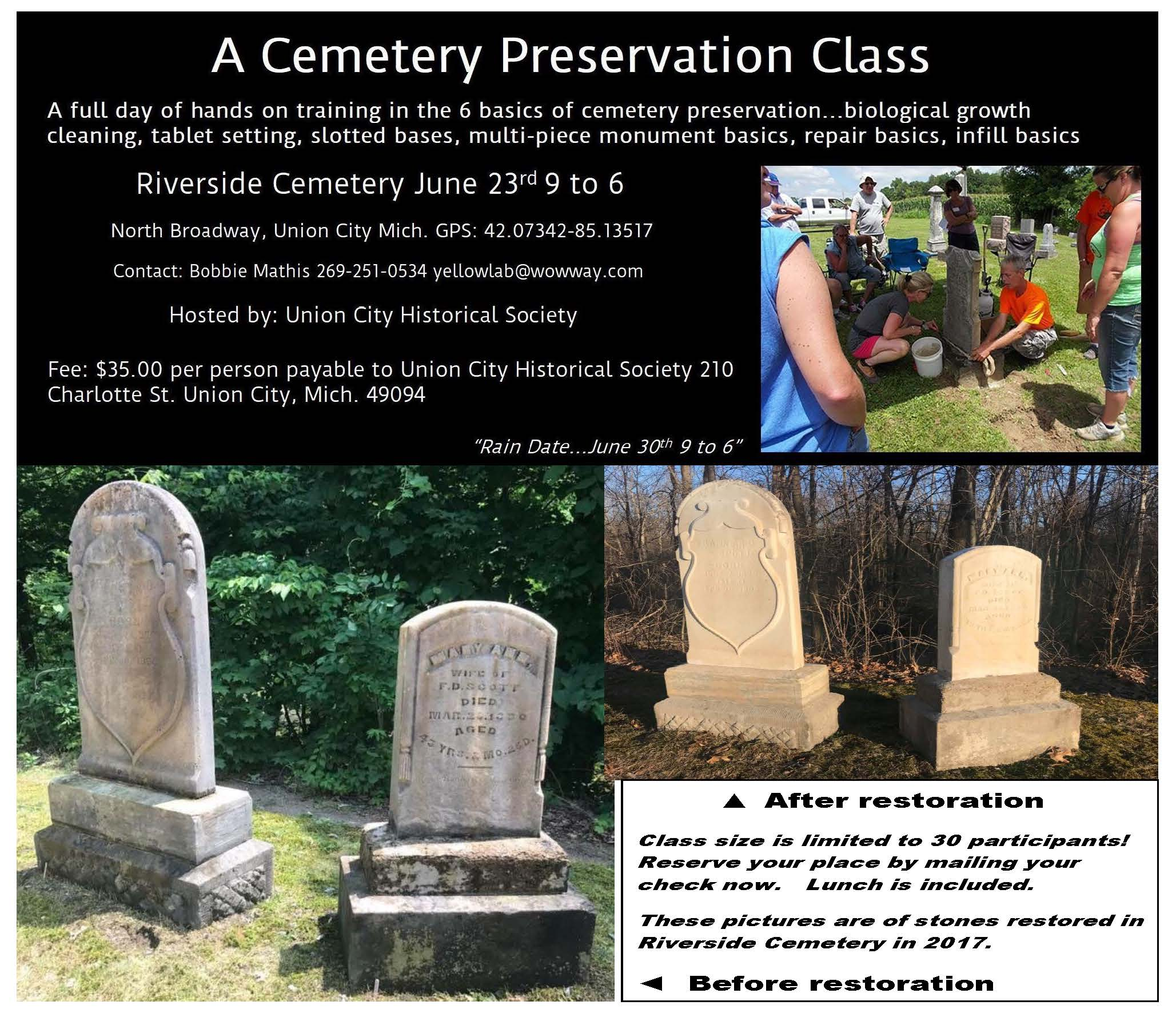 Cemetery Preservation Class flyer